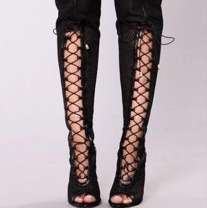 Fashion Nova Azure Lace Up Heel Boot